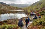 Kulturdagane 2005. Fjelltur Hovden - Vindegga - Vedåfjellet - Hovden. Langs Storavatnet (320 m) mot Revheimstølen. Det var 25 deltakere, 3 sherpa og 1 hund med på turen.